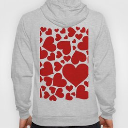 CLUSTERED RED VALENTINE HEARTS ON WHITE Hoody