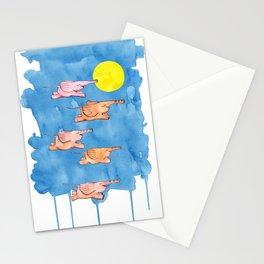 Flying Elephants Stationery Cards