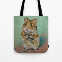 hamster Tote Bags featuring Hamster by Michael Creese