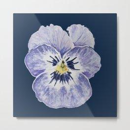 Purple Pansy (Navy Background) Metal Print