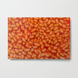 Baked Beans in Red Tomato Sauce Food Pattern  Metal Print