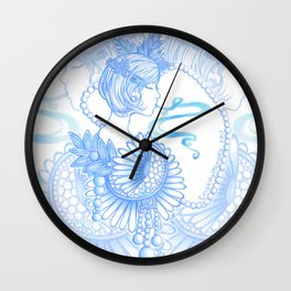 Drawing Dasies in Cool Colors Wall Clock