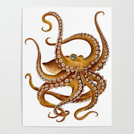 Brown Octopus Tentacles Dance Watercolor Poster