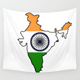India Map with Indian Flag Wall Tapestry