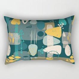 Mid Century Shapes Pattern Blue Rectangular Pillow