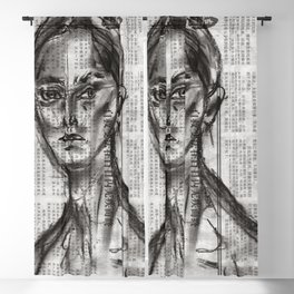 Alert - Charcoal on Newspaper Figure Drawing Blackout Curtain