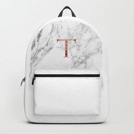 Monogram rose gold marble T Backpack