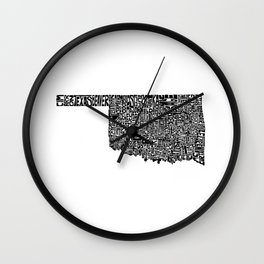 Typographic Oklahoma Wall Clock