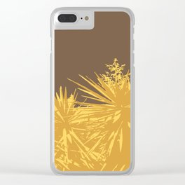 Mustard yucca leaves on toffee background Clear iPhone Case