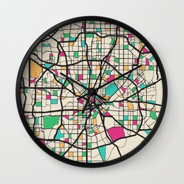 Colorful City Maps: Dallas, Texas Wall Clock