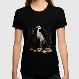 Heron and Lotus Flowers T-shirt