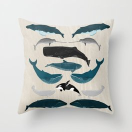 Whales - Pod of Whales Print by Andrea Lauren Throw Pillow