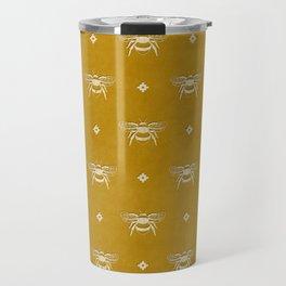 Bee Stamped Motif on Mustard Gold Travel Mug