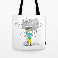 bill Tote Bags featuring Electricity Bill by Jyoti Khetan