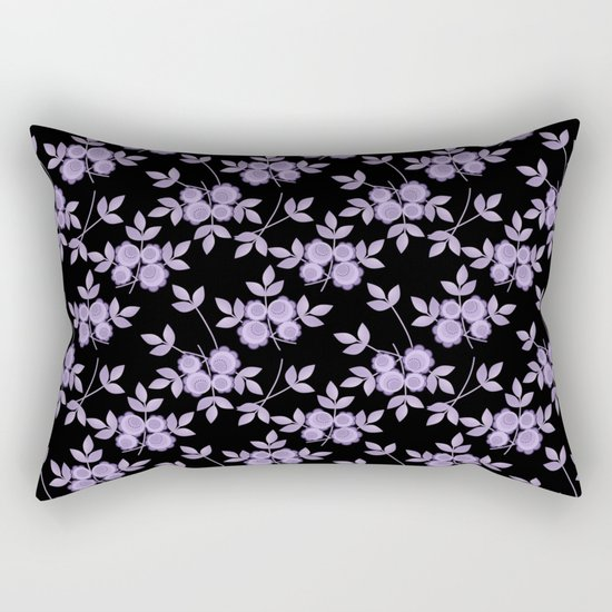 Retro . purple flowers on a black background . Rectangular Pillow