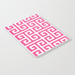 Large Pink and White Greek Key Pattern Notebook