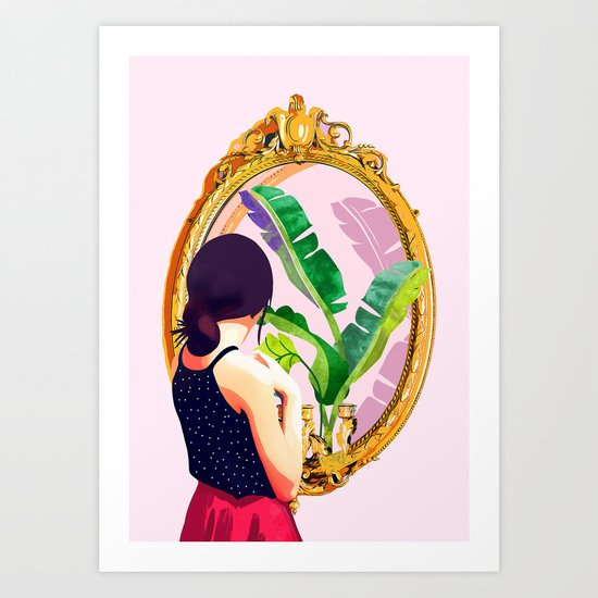 Soul Mirror, Instrospection Mindful Mood Illustration, Tropical Banana Leaves Woman Portrait Gold by 83oranges