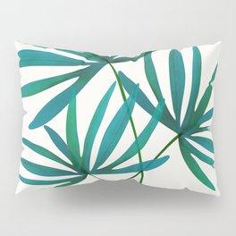 Fan Palm Fronds / Tropical Plant Illustration Pillow Sham