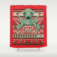 sweater Shower Curtains featuring Contra Sweater by Blueswade