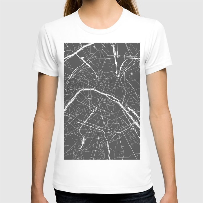 Paris France Minimal Street Map - Grey on White T-shirt