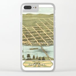Bird's Eye View of Sauk City, Wisconsin (1870) Clear iPhone Case
