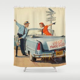 Just Married Retro Couple Shower Curtain