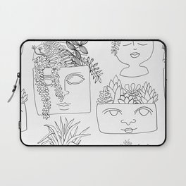 Illustrated Plant Faces in White Laptop Sleeve