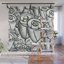 Quirky funky roses gouache painting, black, white and gray Wall Mural