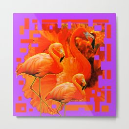 PANTENE ULTRA VIOLET PURPLE  FLAMINGOS ART DESIGN Metal Print
