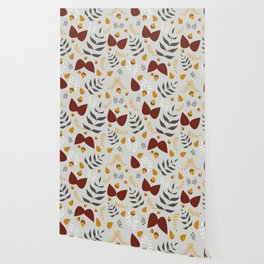 Autumn leaves and acorns - grey, brown and ochre Wallpaper
