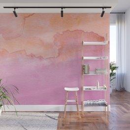 Watercolor Pink Orange Duo Wall Mural