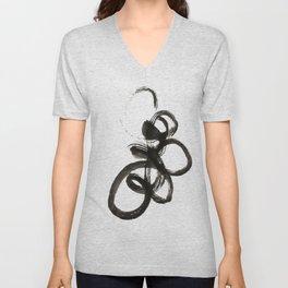 smear of black paint // modern abstract art // minimalism // black and white // stylish, loft style Unisex V-Neck