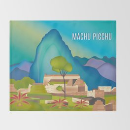 Machu Picchu, Peru - Skyline Illustration by Loose Petals Throw Blanket