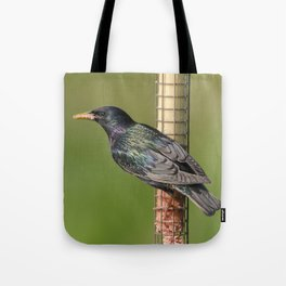 Starling on feeder Tote Bag