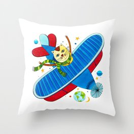 Farm animals in space - Cat Throw Pillow
