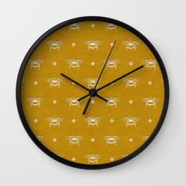 Bee Stamped Motif on Mustard Gold Wall Clock