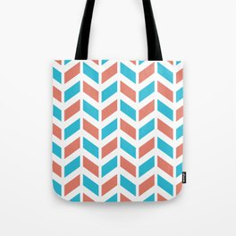 Blue, coral and white chevron pattern Tote Bag