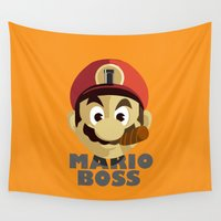 boss Wall Tapestries featuring Mario Boss by Tony Vazquez