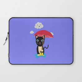 Cat in the rain with Umbrella Laptop Sleeve