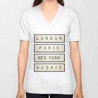 calendars V-neck T-shirts featuring London   Paris   New York   Madrid by Shabby Studios Design & Illustrations ..