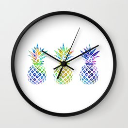 3 Rainbow Pineapples - Multicolored Wall Clock