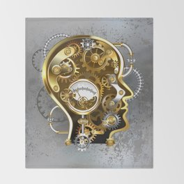 Steampunk Head with Manometer Throw Blanket