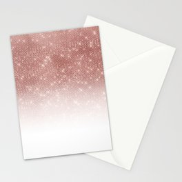 Girly Faux Rose Gold Sequin Glitter White Ombre Stationery Cards