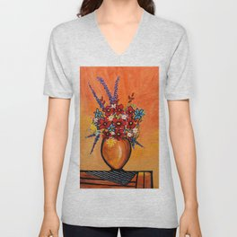 Flowers On Table Unisex V-Neck