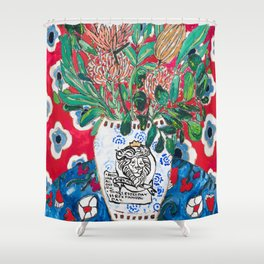 Rex Manning Day Red Floral Still Life with Lion Vase Shower Curtain