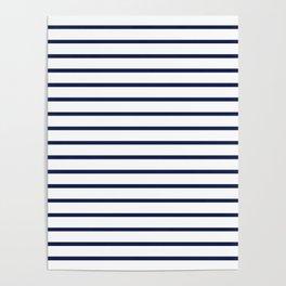 Horizontal Navy Blue Stripes Pattern Poster