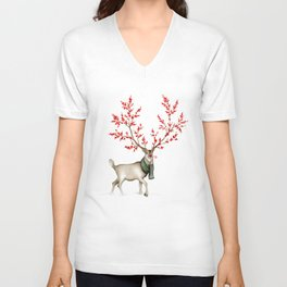 Rudolph the Winterberry Antler'd Reindeer Unisex V-Neck