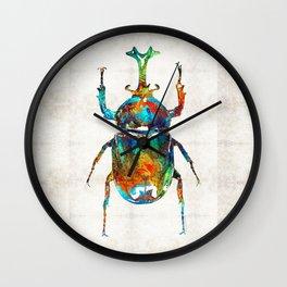 Colorful Beetle Art - Scarab Beauty - By Sharon Cummings Wall Clock