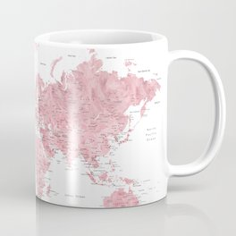 Light pink, muted pink and dusty pink watercolor world map with cities Coffee Mug