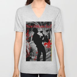New Orleans Jazz Saxophone And Piano Music Unisex V-Neck